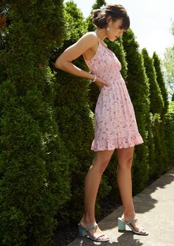 pink floral print smock waist ruffle trim babydoll dress - Main Image