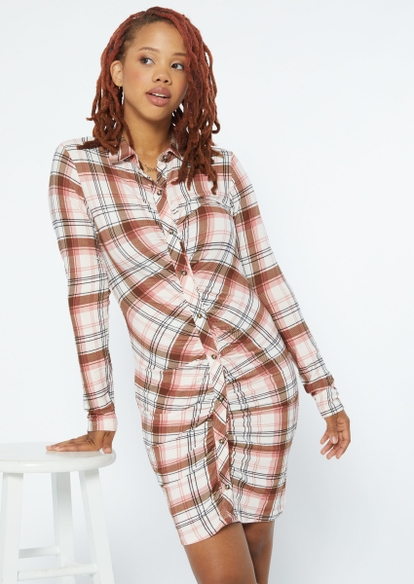 white plaid long sleeve ruched button front polo dress - Main Image