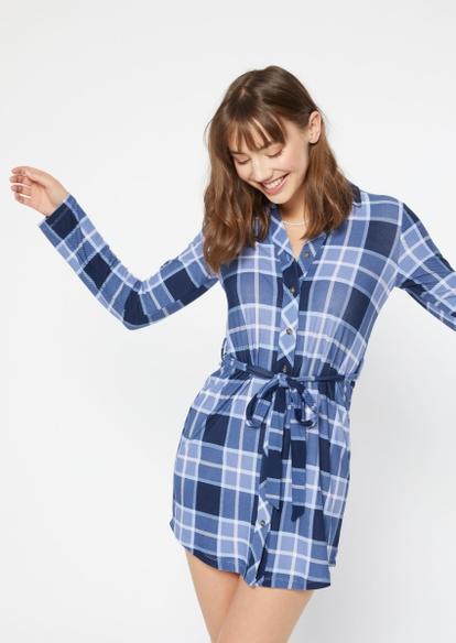 blue plaid belted long sleeve shirt dress - Main Image