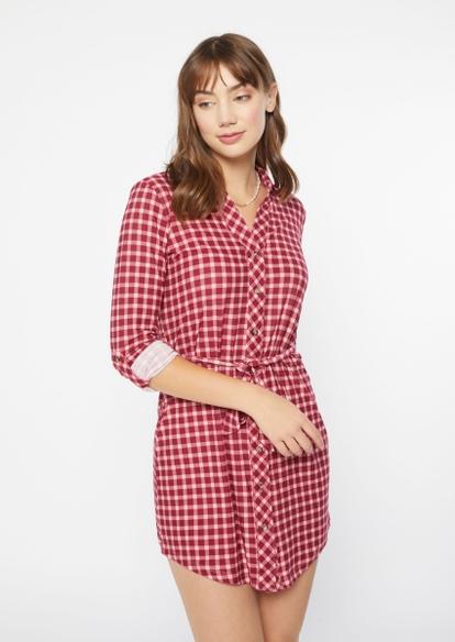 burgundy plaid belted long sleeve shirt dress - Main Image