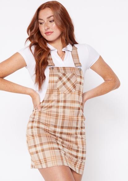 tan plaid overall dress - Main Image
