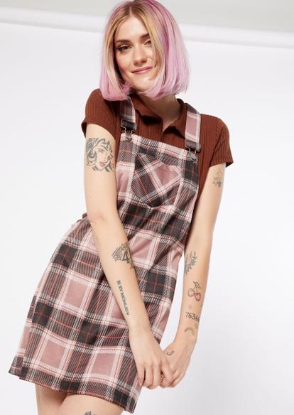 pink plaid overall dress - Main Image