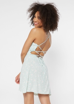 mint daisy print lace up crisscross back dress - Main Image