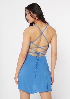 blue lace up crisscross back dress - Main Image