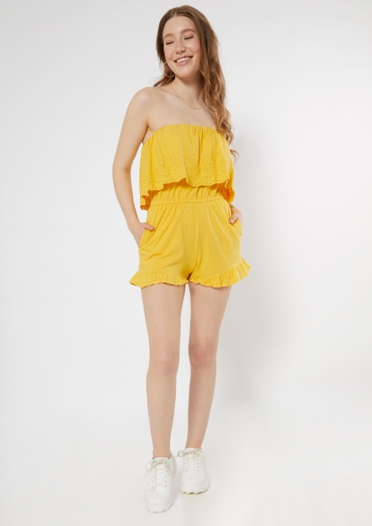yellow crochet flounced strapless romper - Main Image