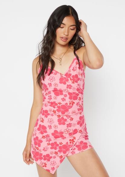 pink hibiscus floral print asymmetrical wrap romper - Main Image