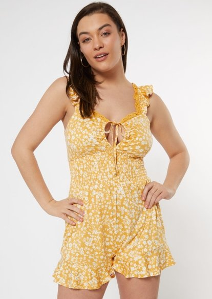 yellow floral print lace smocked romper - Main Image