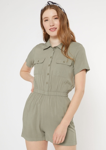 olive button down utility romper - Main Image