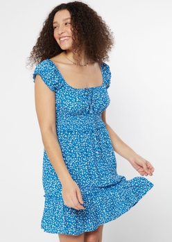 blue leopard print smock waist dress - Main Image