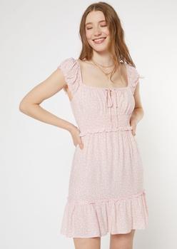 pink leopard print smock waist dress - Main Image