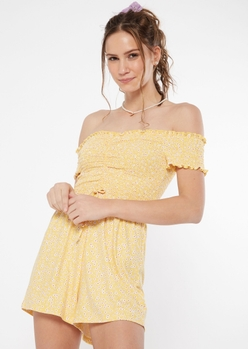 yellow ditsy floral print ruched smocked romper - Main Image