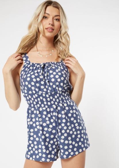 navy daisy print smocked waist romper - Main Image