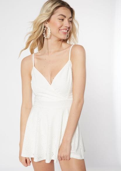white eyelet knit skirt overlay romper - Main Image