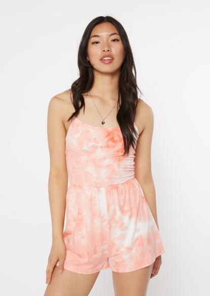 coral tie dye super soft strappy crisscross back romper - Main Image