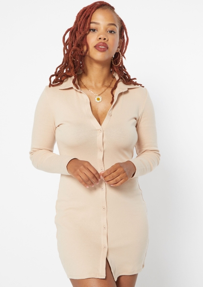 taupe long sleeve button down polo dress - Main Image
