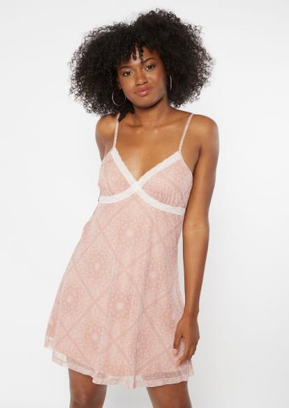 dusty pink bandana print lace trim bust mini slip dress - Main Image
