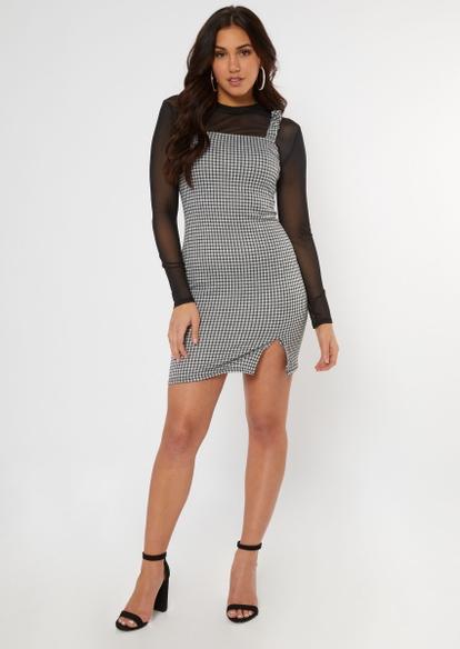 white plaid ruched strap slip dress - Main Image