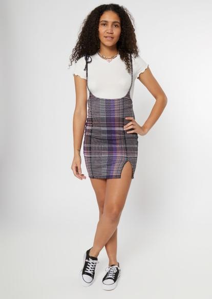 two-piece tee and purple plaid dress set - Main Image