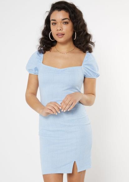 blue plaid puff sleeve side slit dress - Main Image