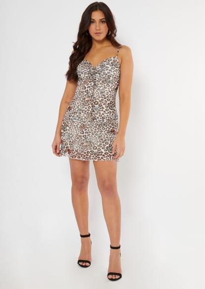leopard print ruched slip dress - Main Image