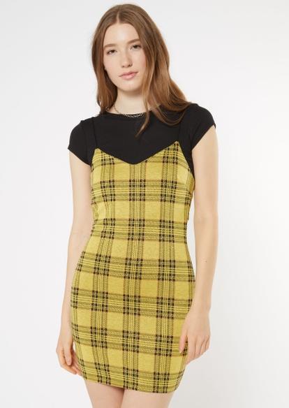 yellow plaid print bungee strap mini dress - Main Image