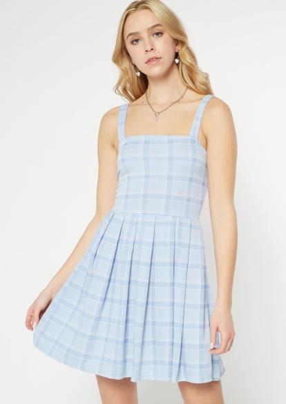 blue plaid print pleated skirtall - Main Image