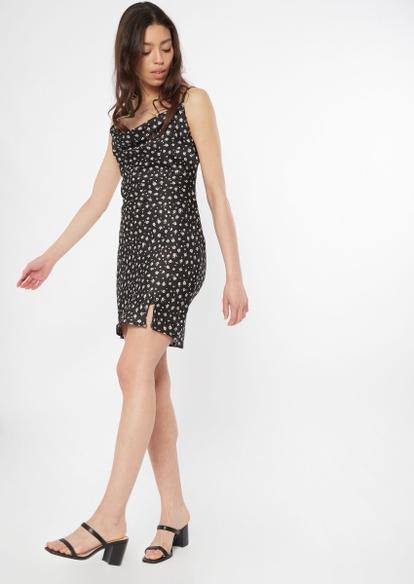 black ditsy daisy cowl neck satin slip dress - Main Image