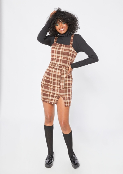 brown plaid print thigh slit belted mini dress - Main Image