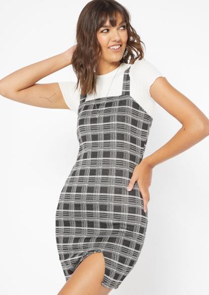 gray plaid print slit fitted dress - Main Image