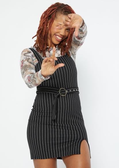 black pinstripe belted side slit dress - Main Image