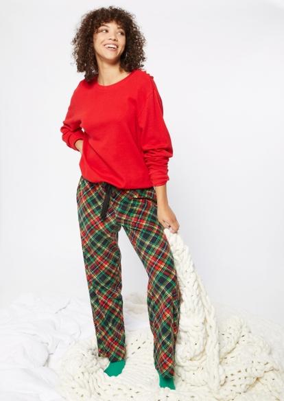 green plaid microfleece pajama pants - Main Image