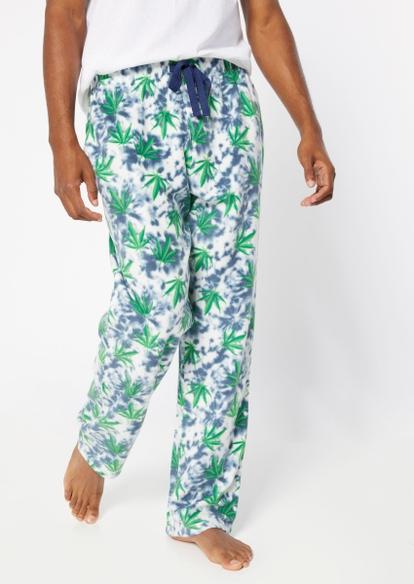 blue tie dye weed leaf pajama pants - Main Image