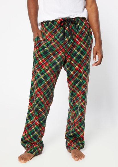 green flannel pajama pants - Main Image