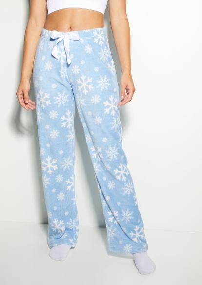 light blue snowflake plush pajama pants - Main Image