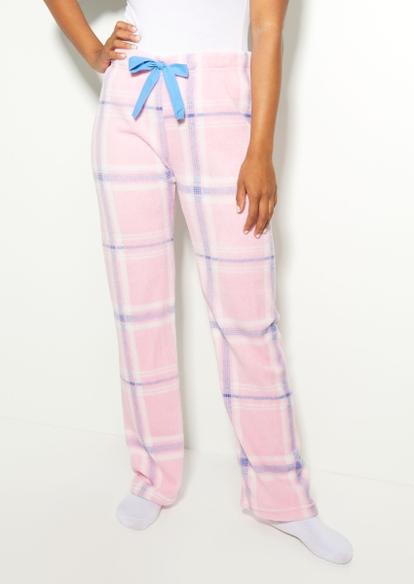 pastel plaid tie dye plush pajama pants - Main Image