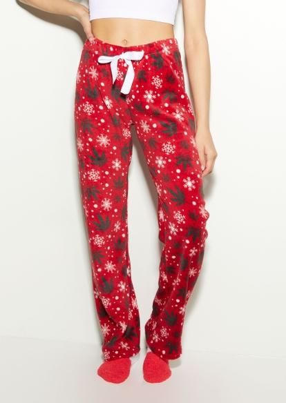red weed leaf snowflake plush pajama pants - Main Image