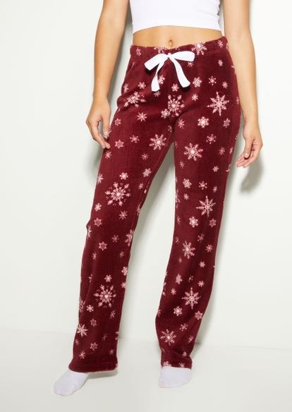 burgundy snowflake plush pajama pants - Main Image