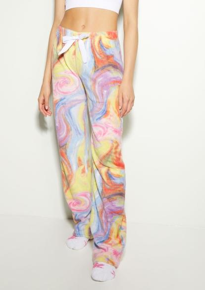 pastel rainbow marble pajama pants - Main Image