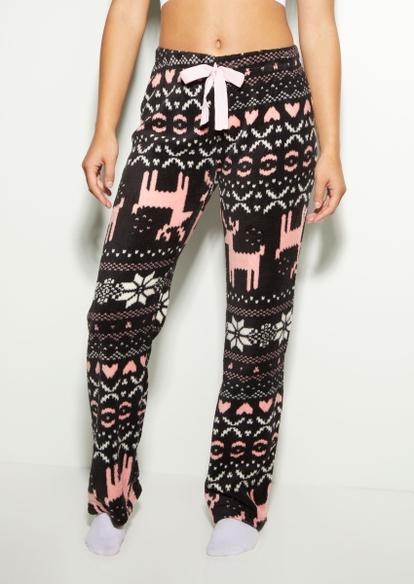 black winter wonderland plush pajama pants - Main Image