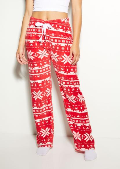 red reindeer plush pajama pants - Main Image