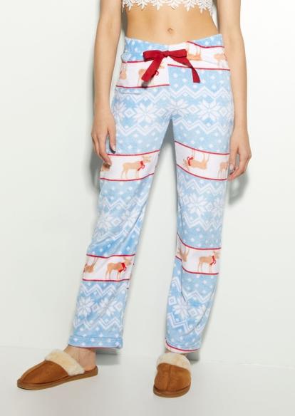 blue reindeer fair isle plush pajama pants - Main Image