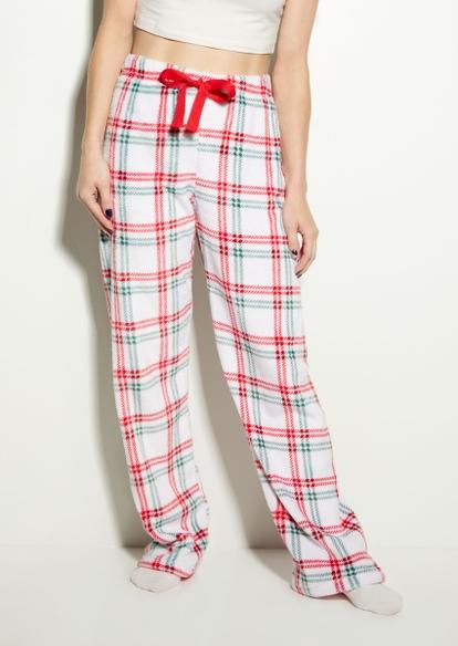 white colorblock buffalo plaid plush pajama pants - Main Image