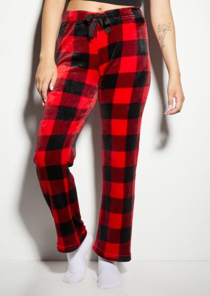 red plaid print plush pajama pants - Main Image