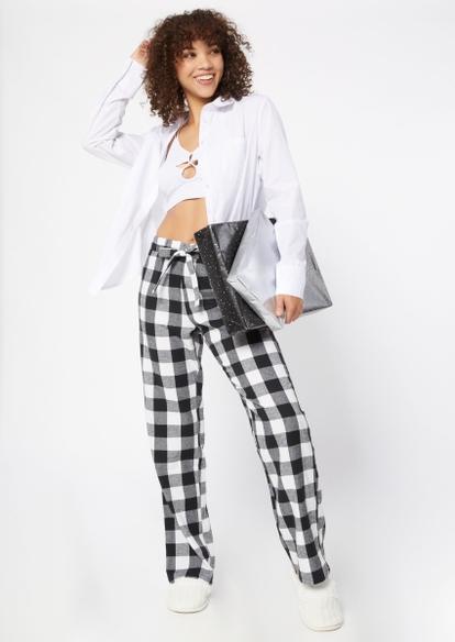black flannel pajama pants - Main Image