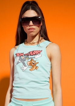 mint tom and jerry chase graphic tank top - Main Image