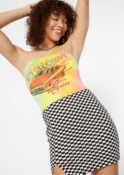 tie dye american hot rods graphic tube top - Main Image