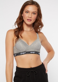 2-pack gray structured low impact sports bras - Main Image