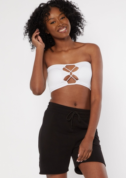 white strappy caged seamless bandeau - Main Image