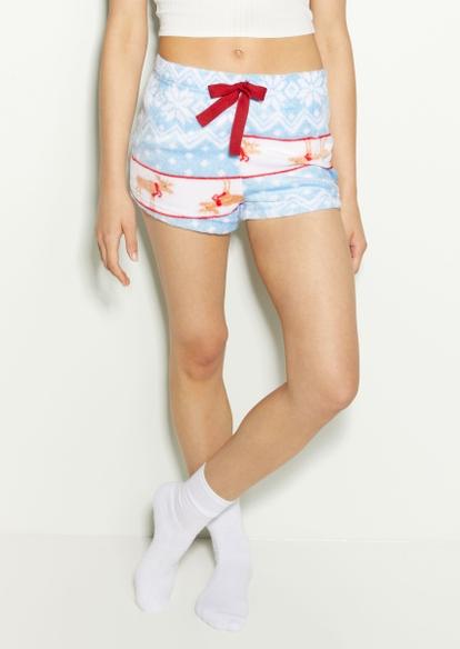 blue fair isle reindeer print plush pajama shorts - Main Image