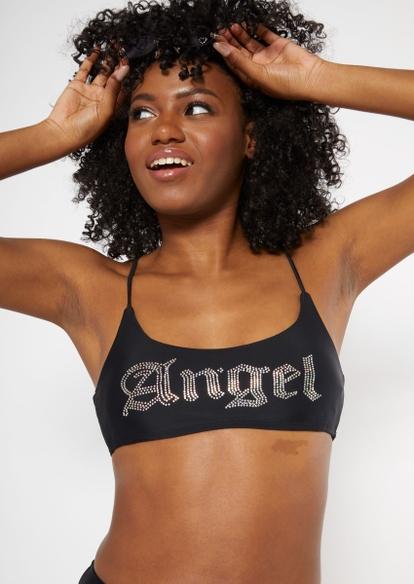 black rhinestone angel scoop neck bikini top - Main Image